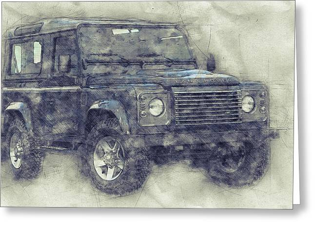 Land Rover Defender 1 - Land Rover Ninety - Land Rover One Ten - Automotive Art - Car Posters Greeting Card
