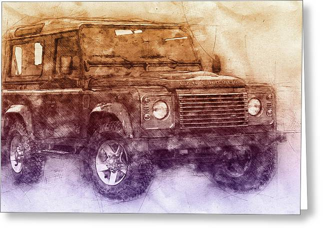 Land Rover Defender 2 - Land Rover Ninety - Land Rover One Ten - Automotive Art - Car Posters Greeting Card