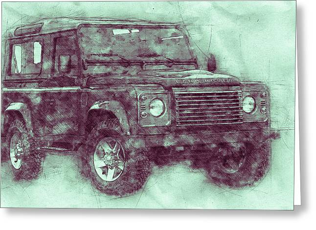 Land Rover Defender 3 - Land Rover Ninety - Land Rover One Ten - Automotive Art - Car Posters Greeting Card
