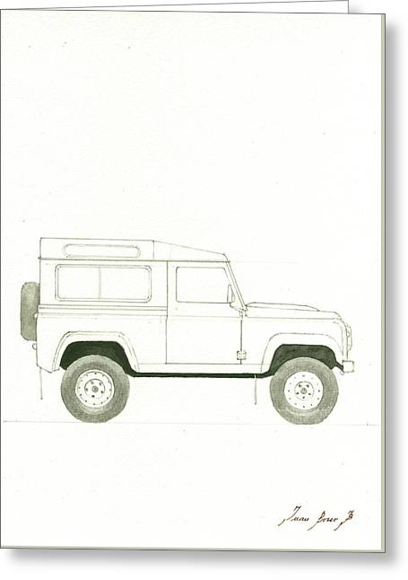 Land Rover Defender Greeting Card by Juan Bosco