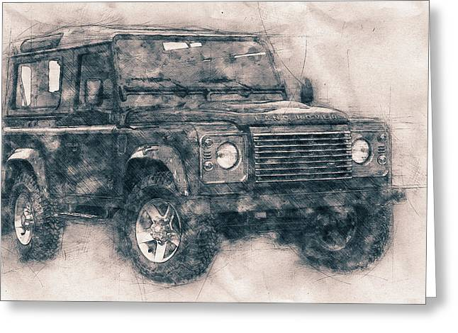 Land Rover Defender - Land Rover Ninety - Land Rover One Ten - Automotive Art - Car Posters Greeting Card