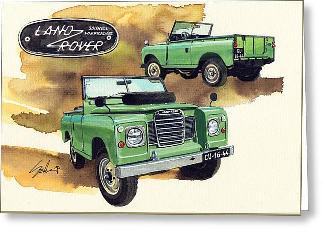 Land Rover Vintage Series Greeting Card by Yoshiharu Miyakawa