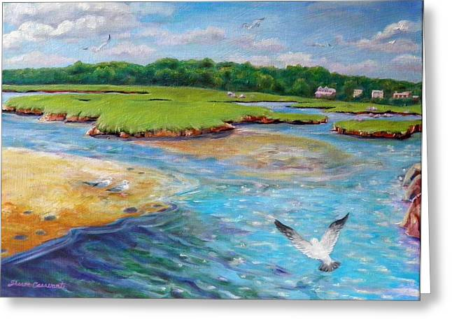 Landing At Jones River Salt Marsh Greeting Card