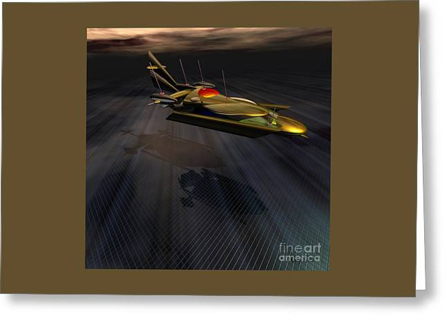 Landing At Omega 7 Greeting Card by Corey Ford