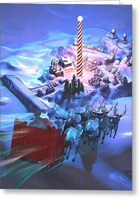 Landing At The North Pole Greeting Card by Dave Luebbert