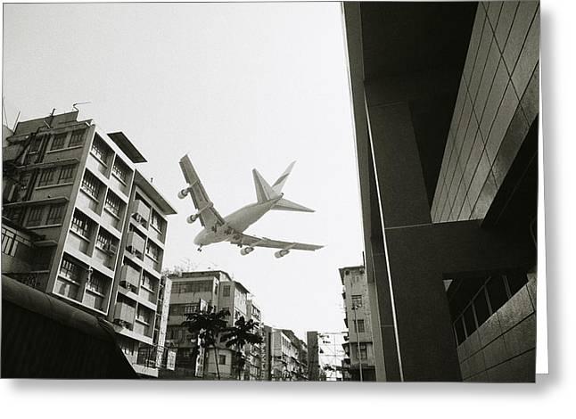 Landing In Hong Kong Greeting Card