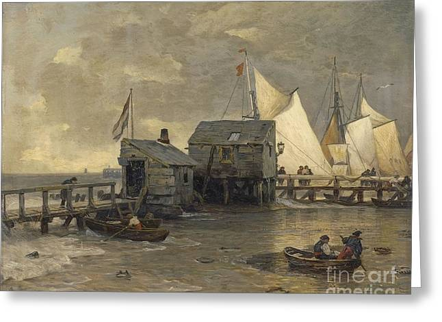 Landing Stage With Sailing Ships Greeting Card