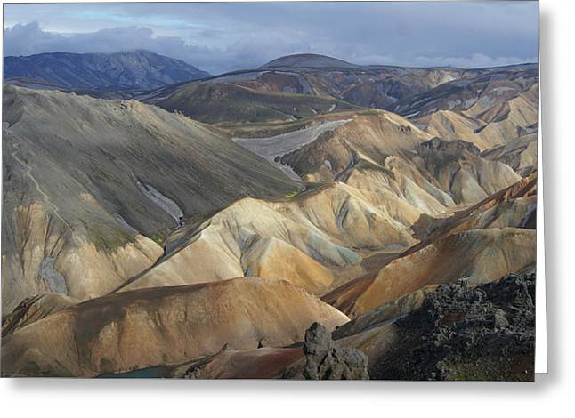 Landmannalaugar Rhyolite Mountains Iceland Greeting Card