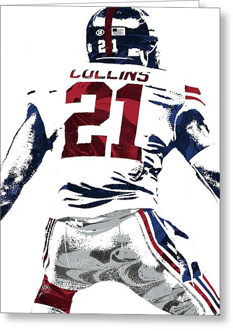 Landon Collins New York Giants Pixel Art 1 Greeting Card