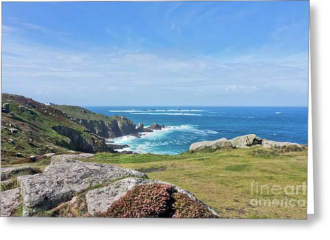 Land's End And Longships Lighthouse Cornwall Greeting Card by Terri Waters