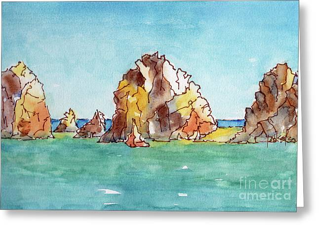 Greeting Card featuring the painting Lands End Cabo San Lucas Mexico by Pat Katz