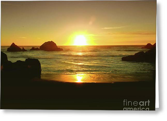 Lands End Sunset-the Golden Hour Greeting Card