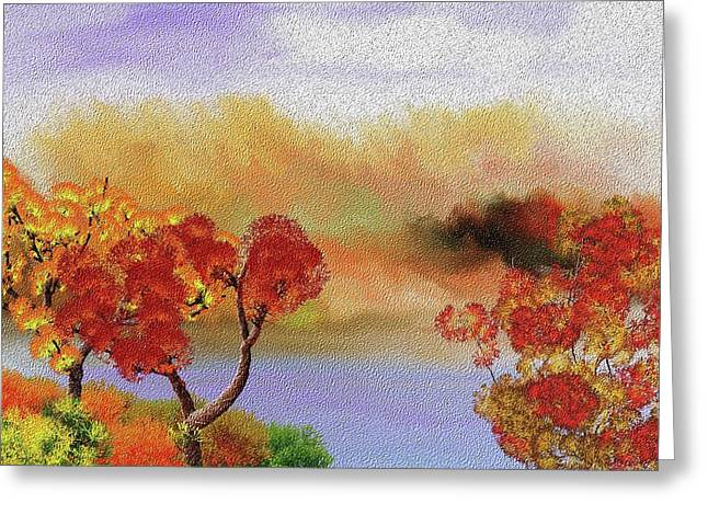 Autumn Scenes Digital Art Greeting Cards - Landscape 031111 Greeting Card by David Lane