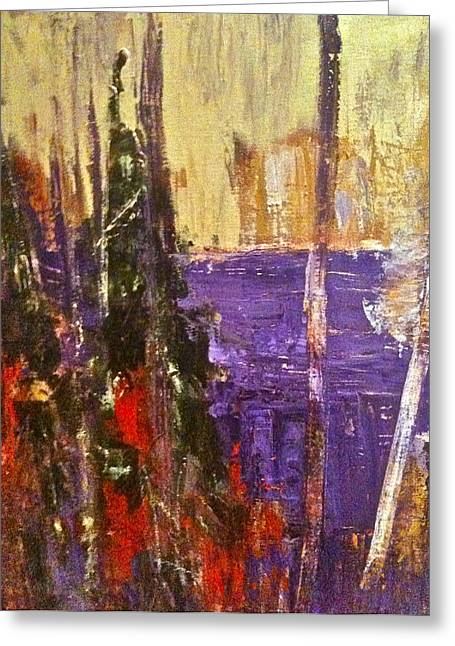 Landscape Abstract In Purple Greeting Card by Mary-Lynn Bastian