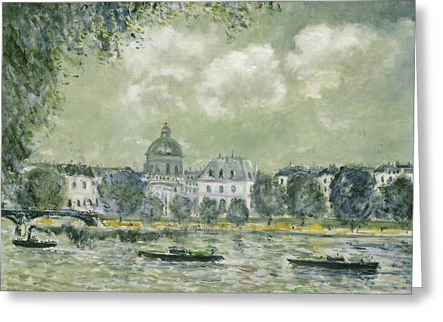 Landscape Along The Seine With The Institut De France And The Pont Des Arts Greeting Card by Alfred Sisley