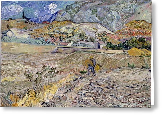 Saint Remy Greeting Cards - Landscape at Saint-Remy Greeting Card by Vincent Van Gogh