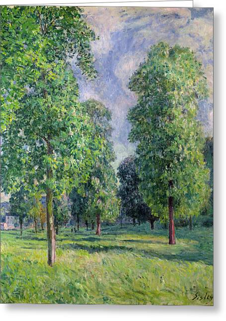 Signature Greeting Cards - Landscape at Sevres Greeting Card by Alfred Sisley