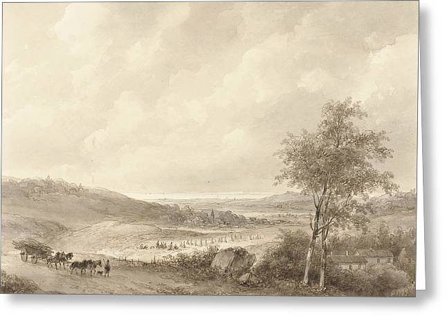 Landscape Between Calais And Boulogne Greeting Card by Andreas Schelfhout