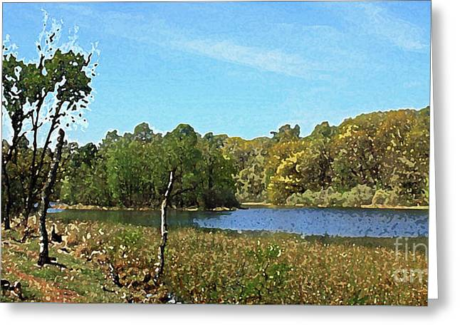Landscape, Countryside In The Netherlands, Lakes, Meadows, Trees Greeting Card
