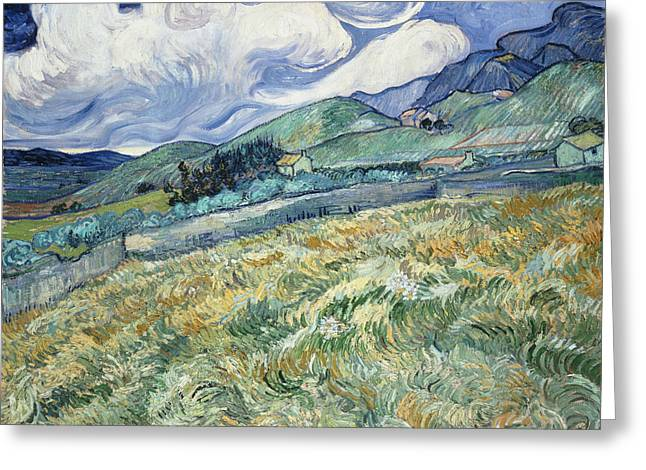 Landscape From Saint Remy  Greeting Card by Vincent van Gogh