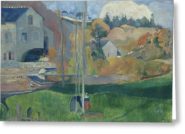Landscape In Brittany, The David Mill Greeting Card by Paul Gauguin