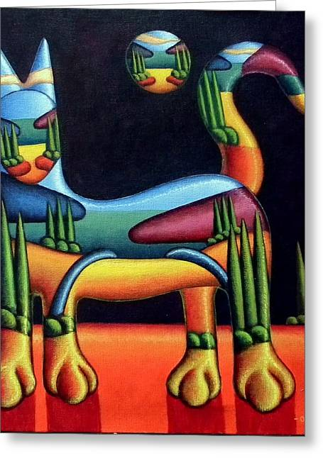 Landscape In Cat In Landscape Greeting Card by Alan Kenny