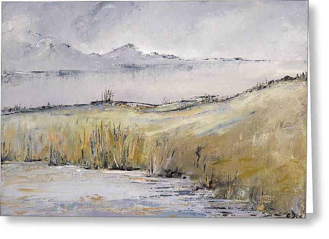 Landscape In Gray Greeting Card by Carolyn Doe