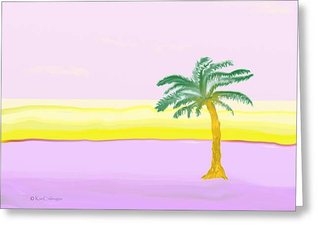 Landscape In Pink And Yellow Greeting Card