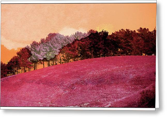 Landscape In Red Greeting Card by Contemporary Art