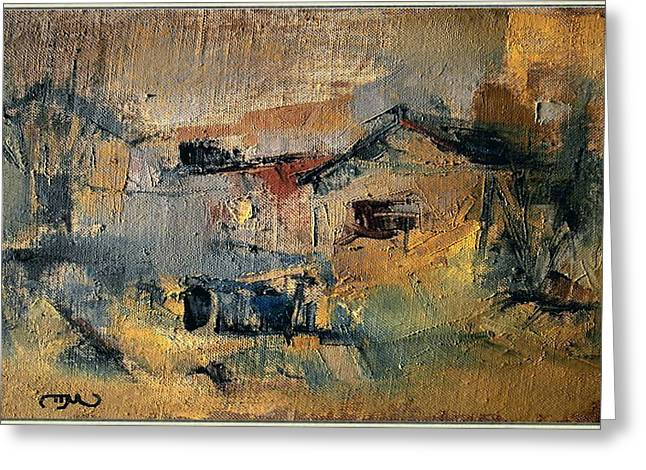 Landscape In Yellow Greeting Card by Pemaro