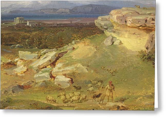 Landscape Near Corinth Greeting Card by Carl Rottmann