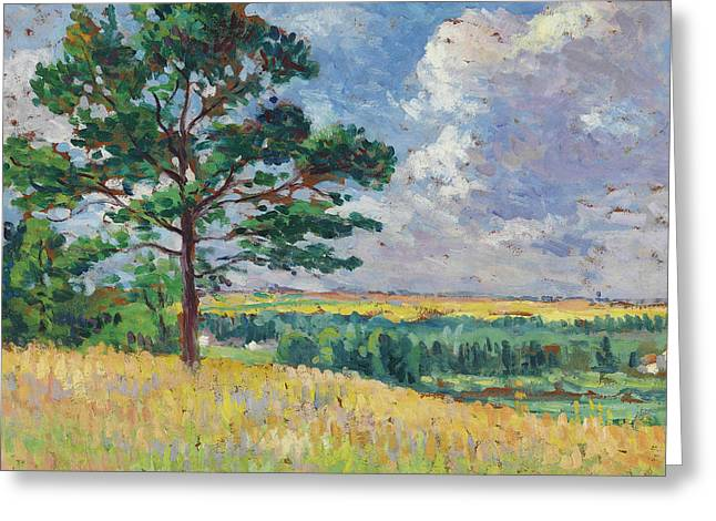 Landscape Near Mereville Greeting Card by Maximilien Luce