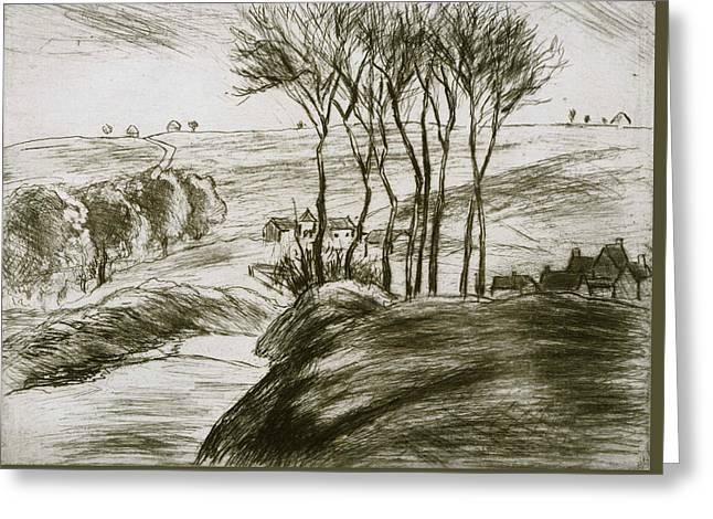 Landscape Near Osny  Greeting Card by Camille Pissarro