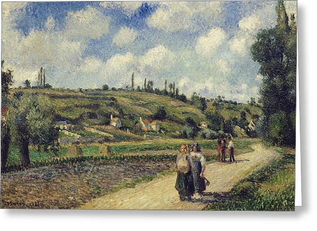 Landscape Near Pontoise The Auvers Road Greeting Card by Camille Pissarro