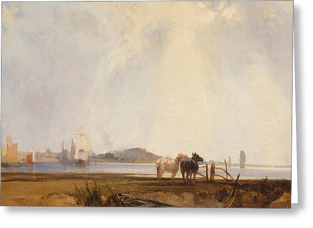 Landscape Near Quilleboeuf, France Greeting Card by Richard Parkes Bonington