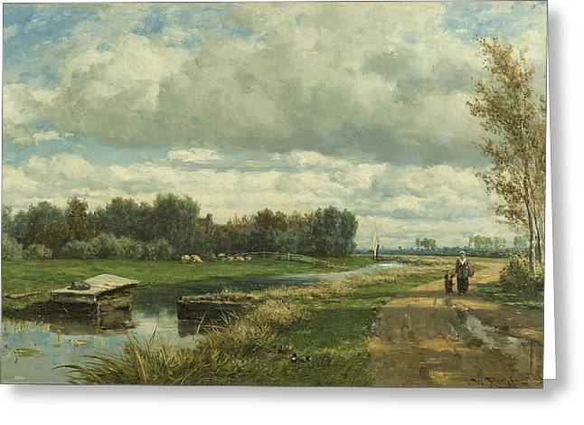 Landscape Near The Hague Greeting Card by Willem Roelofs