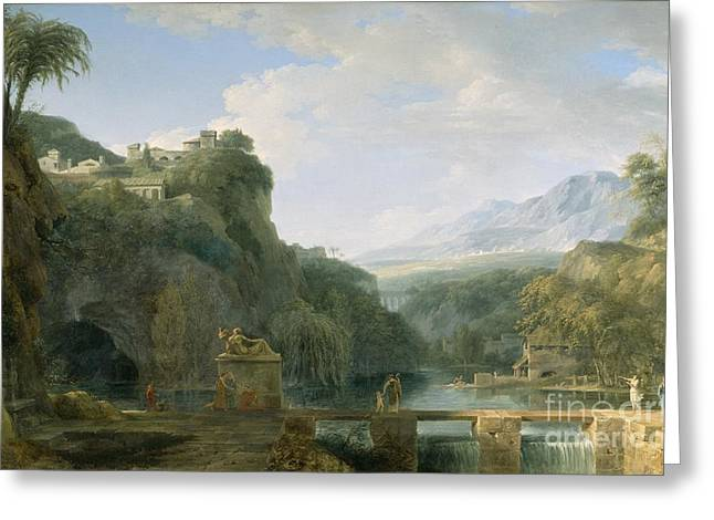Fortress Greeting Cards - Landscape of Ancient Greece Greeting Card by Pierre Henri de Valenciennes