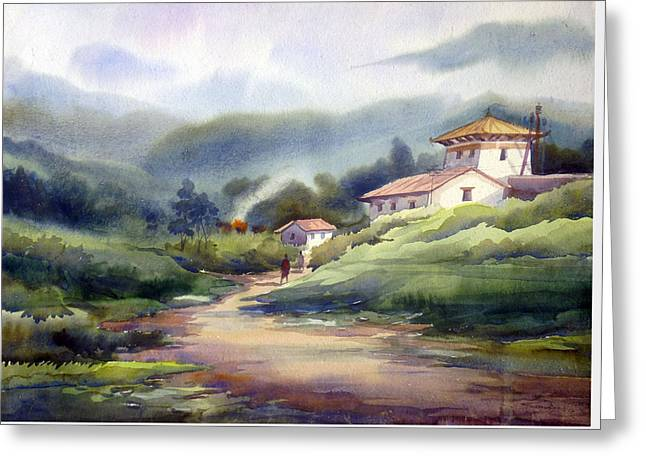 Landscape Of Bhutan Greeting Card by Samiran Sarkar