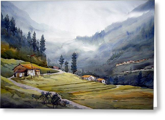 Landscape Of Himalayan Mountain Greeting Card by Samiran Sarkar