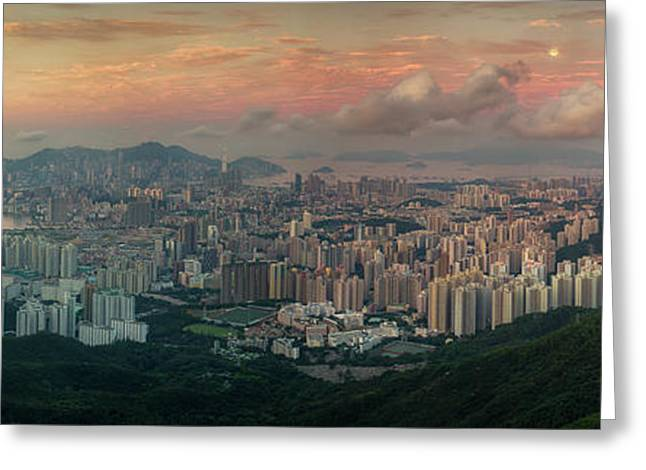 Landscape Of Hong Kong And Kowloon In Sunrise Morning With Mist  Greeting Card by Anek Suwannaphoom