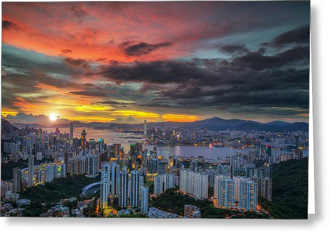 Landscape Of Hot Air Balloon Over Hong Kong Sky With Sunrise Greeting Card by Anek Suwannaphoom