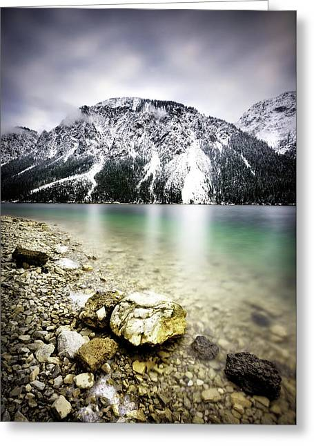 Landscape Of Plansee Lake And Alps Mountains During Winter, Snowy View, Tyrol, Austria. Greeting Card