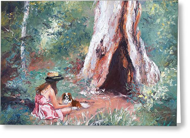 Landscape Painting - By The Hollow Tree Greeting Card by Jan Matson