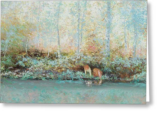 Landscape Painting - Looking For Tadpoles Greeting Card by Jan Matson