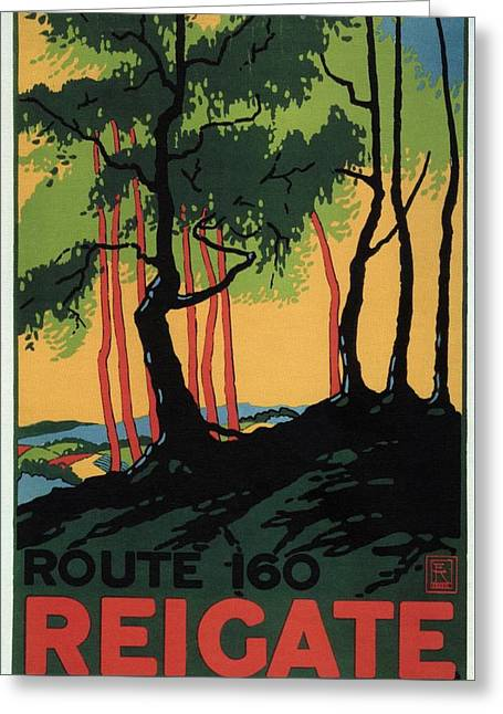 Landscape Painting Of The Woods In Reigate, Surrey - England - Vintage Poster Greeting Card