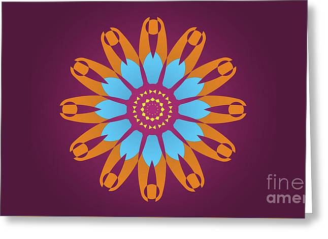 Landscape Purple Back And Abstract Orange And Blue Star Greeting Card