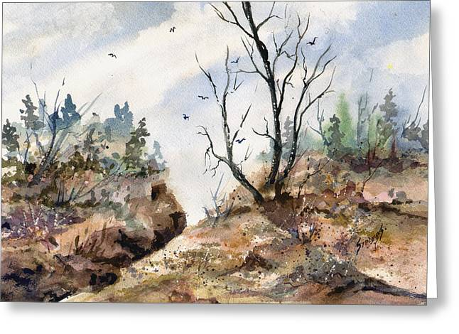 Greeting Card featuring the painting Landscape by Sam Sidders