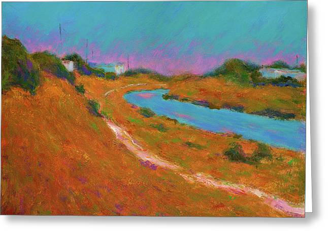 Canal Path, Early Autumn Greeting Card