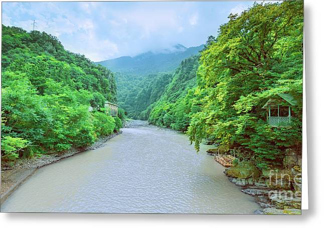 Landscape View From A Bridge Greeting Card