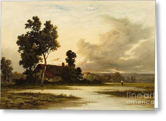 Landscape With A Cottage Greeting Card